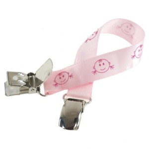 Attache doudou rose tête fille