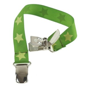 Attache doudou vert étoiles