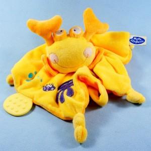 Crabe MOTS D'ENFANTS doudou carré plat jaune