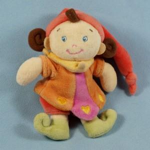 Poupée ou Fée NICOTOY doudou orange et rose 14 cm