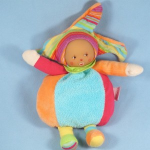Poupée COROLLE doudou clown multicolore