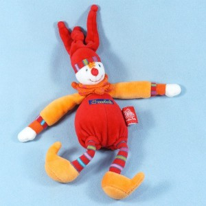 Clown Dragobert de MOULIN ROTY doudou rouge et orange hochet