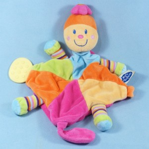Tortue MOTS D'ENFANTS doudou plat multicolore