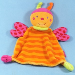 Abeille BEAUTY BABY doudou plat rayé orange