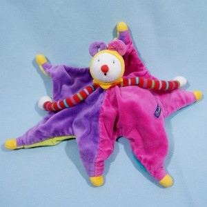 Clown Dragobert de Moulin Roty rose/violet et bleu/vert