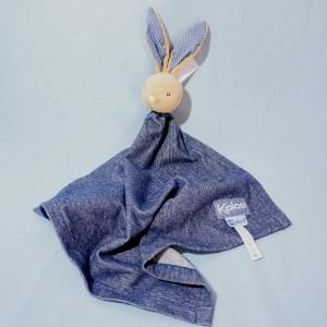 Lapin KALOO Blue Denim doudou mouchoir plat bleu