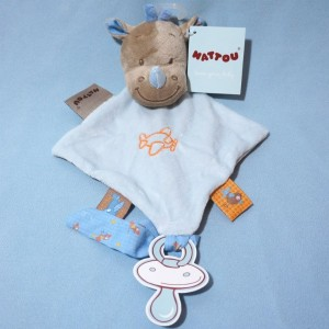 Rhinocéros NATTOU doudou carré plat  bleu avion orange