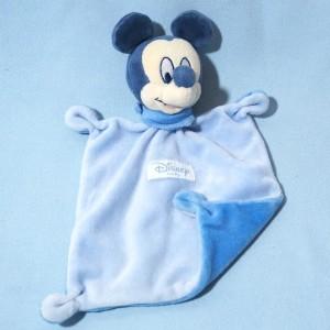 Mickey DISNEY Baby sos doudou carré plat bleu