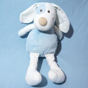Chien SUCRE D'ORGE doudou range-pyjama bleu spirale