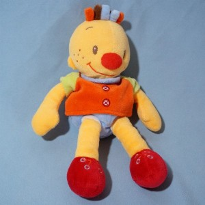 Bonhomme NATTOU doudou garçon Billy orange et rouge