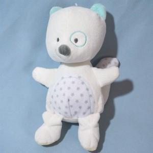 Écureuil GEMO doudou blanc et bleu étoiles grises