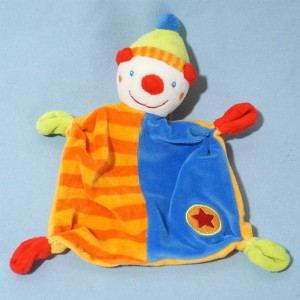 Clown BABY CLUB sos doudou orange et bleu étoile