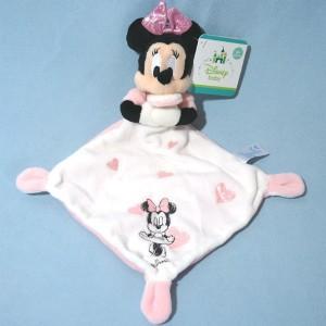 Doudou Minnie DISNEY Carré plat blanc coeur rose étoiles