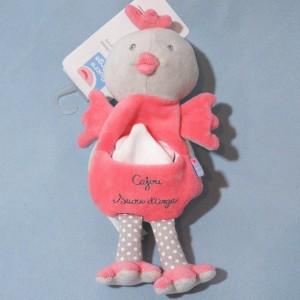 Poule SUCRE D'ORGE doudou Cajou rose et gris mouchoir blanc