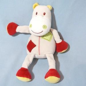 Hippopotame SUCRE D'ORGE doudou blanc, rouge et vert