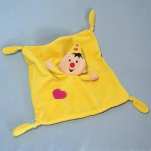 Clown BUMBA sos doudou plat jaune coeur rose
