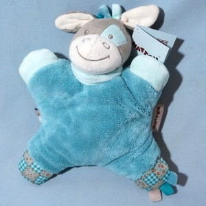 Cheval NATTOU doudou semi-plat bleu Gaston Flatsies