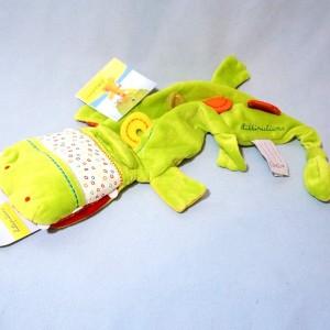 Crocodile LILLIPUTIENS sos doudou marionnette vert