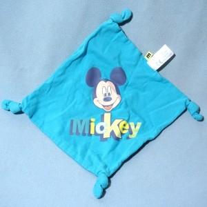 Mickey Carrefour DISNEY doudou carré plat bleu