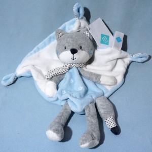 Renard TEX sos doudou carré plat bleu, gris et blanc étoiles