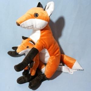 Renard IKEA sos doudou peluche avec bébé orange et noir