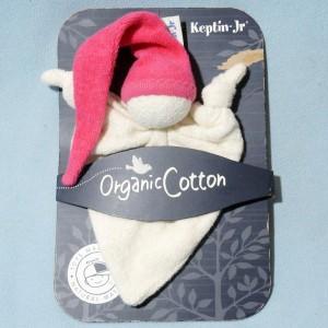 Bonhomme KEPTIN-JR doudou triangle plat beige bonnet rouge