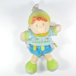 Poupée NICOTOY doudou garçon bleu, jaune et vert