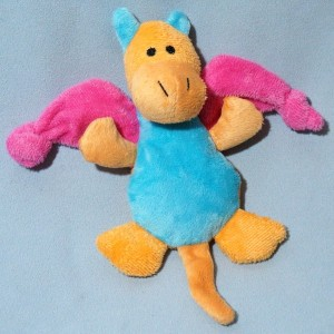 Dragon doudou plat bleu et orange ailes rose