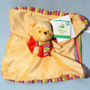 Winnie DISNEY NICOTOY doudou carré plat jaune