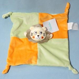Lion KIMBALOO doudou carré plat vert et orange