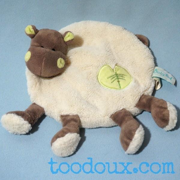 Hippopotame BABY NAT doudou d'activités avec anneau et pouet