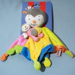 Tchoupi NICOTOY doudou carré plat avec bébé