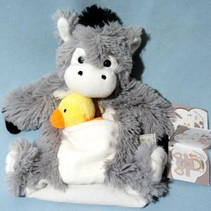 Ane HISTOIRE D'OURS doudou marionnette gris avec canard