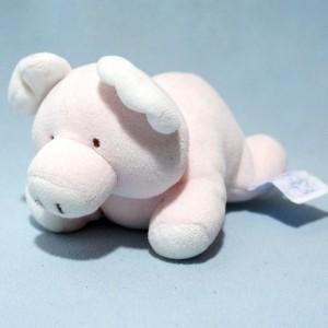 Cochon COMPTINE doudou hochet rose clair