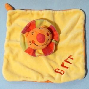 Lion CREATIV TOYS doudou carré plat jaune Grrr