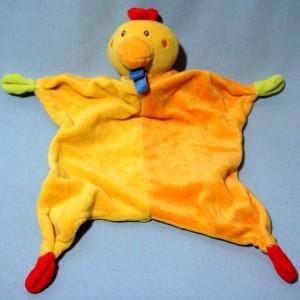Poule PARADISE TOYS doudou plat jaune et orange