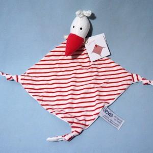 Cigogne FURNIS carré plat rayé rouge et blanc