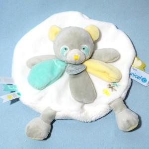 Panda UNICEF Doudou et Compagnie rond plat blanc, jaune et vert
