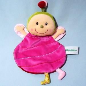 Coccinelle LILLIPUTIENS sos doudou marionnette rose