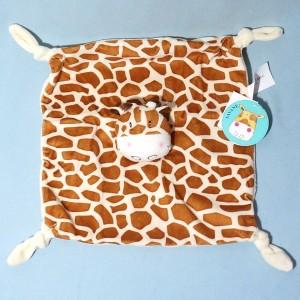 Girafe CARRE BLANC doudou plat Savane marron et beige