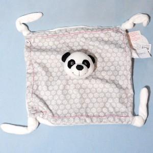 Panda CARRE BLANC doudou plat gris et blanc