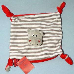 Hippopotame LES PETITES MARIE doudou carré plat gris blanc et rouge