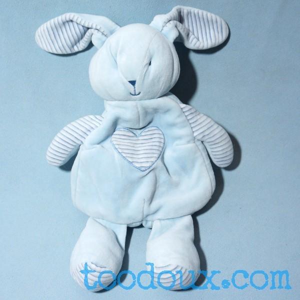 Lapin SIPLEC doudou range pyjama bleu et blanc coeur