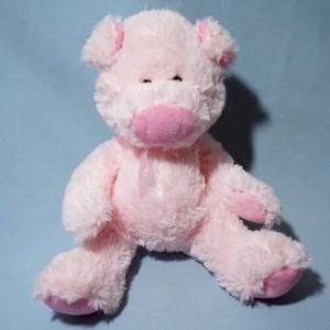 Cochon GIFI doudou peluche rose noeud