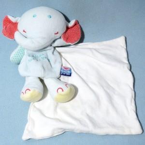 éléphant SUCRE D'ORGE doudou Cajou bleu mouchoir blanc