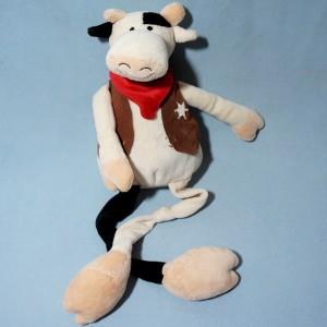Vache CREDIT AGRICOLE CA TIWI doudou sherif noir et blanc à longues jambres