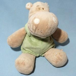 Hippopotame NOUKIE'S doudou peluche beige et vert