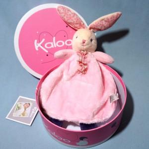 """Lapin KALOO doudou marionnette rose """"Petite Rose"""""""