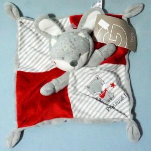 Renard SIMBA (Gémo) doudou plat gris et rouge capuche oreilles lapin