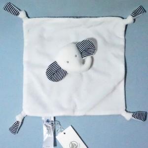 éléphant PETIT BATEAU doudou carré plat blanc et bleu marine